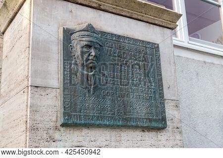 Gorzow Wielkopolski, Poland - June 1, 2021: Memorial Plaque To Wladyslaw Sikorski, Polish General An