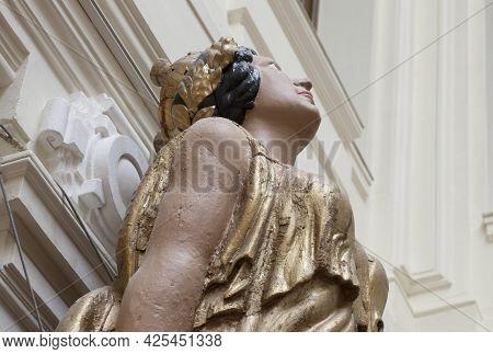 Madrid, Spain - March 6th, 2021: Figurehead Of Spanish 18th Century Ship-of-line. Female Deity Repre