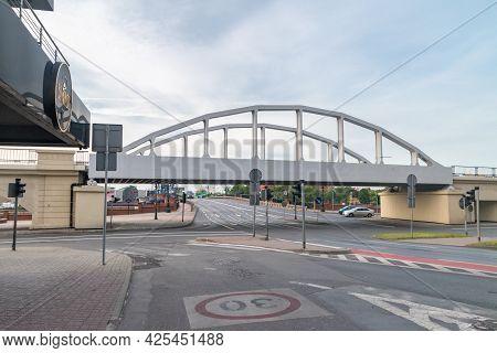 Gorzow Wielkopolski, Poland - June 1, 2021: Railway Viaduct Over Street In City Center Of Gorzow Wie