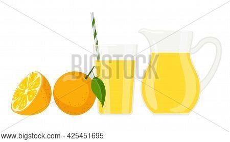 Orange Juice. Jug And Glass Of Fresh Orange Drink. Healthy Organic Nutrition. Citrus Fruits. Flat Ve