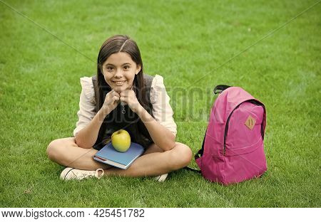 You Are What You Eat. Happy Child Sit On Green Grass. School Snack. Vegetarian Diet. Health Educatio