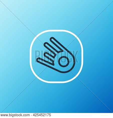 Line Comet Falling Down Fast Icon Isolated On Blue Background. Colorful Outline Concept. Vector
