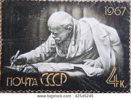 RUSSIA - CIRCA 1967: stamp printed by USSR in 1967 shows  Sculpture portrait Socialist leader Lenin