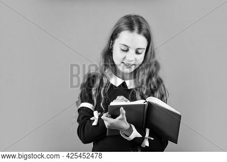 This Is On Record. Little Reporter Or Blogger. School Reporter Brown Background. Small Girl Write Jo