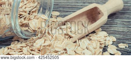 Heap Of Rye Flakes Or Oat Bran Containing Dietary Fiber And Natural Minerals. Nutritious Eating