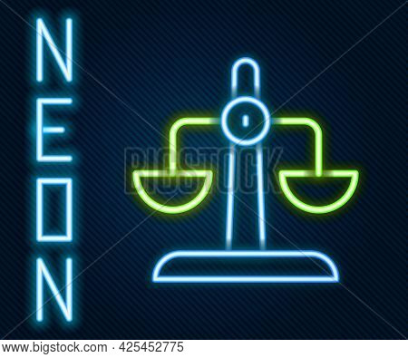 Glowing Neon Line Libra Zodiac Sign Icon Isolated On Black Background. Astrological Horoscope Collec