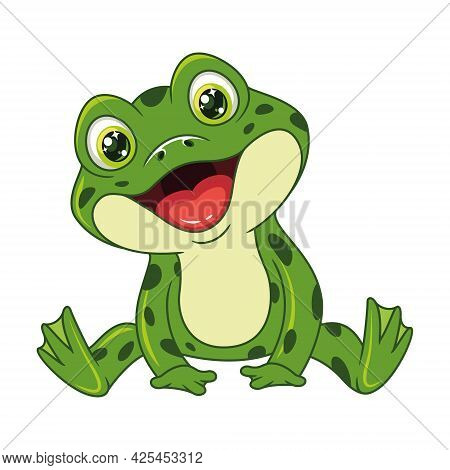 Croaking Green Frog Sitting. Cartoon Vector Illustration