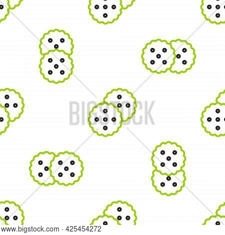 Line Cookie Or Biscuit With Chocolate Icon Isolated Seamless Pattern On White Background. Vector