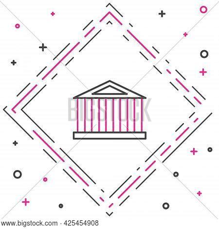 Line Parthenon From Athens, Acropolis, Greece Icon Isolated On White Background. Greek Ancient Natio