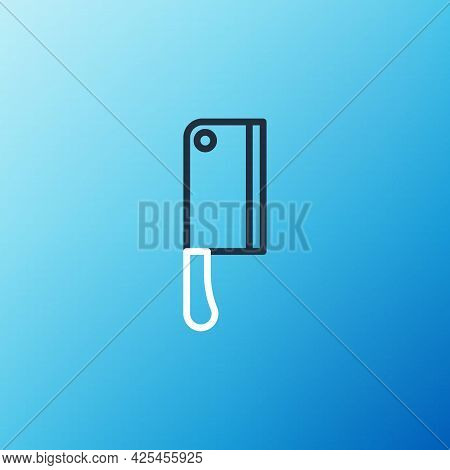 Line Meat Chopper Icon Isolated On Blue Background. Kitchen Knife For Meat. Butcher Knife. Colorful