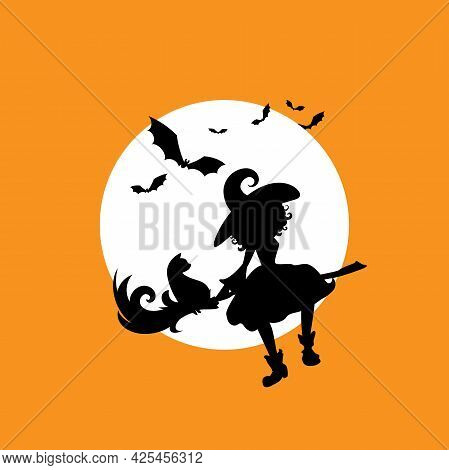 Witch With Cat Flies On The Broom In The Night Sky. Moon, Bats And And Hag In Hat. Magic, Fantasy. F
