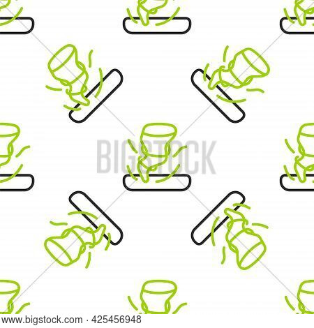 Line Tornado Icon Isolated Seamless Pattern On White Background. Cyclone, Whirlwind, Storm Funnel, H