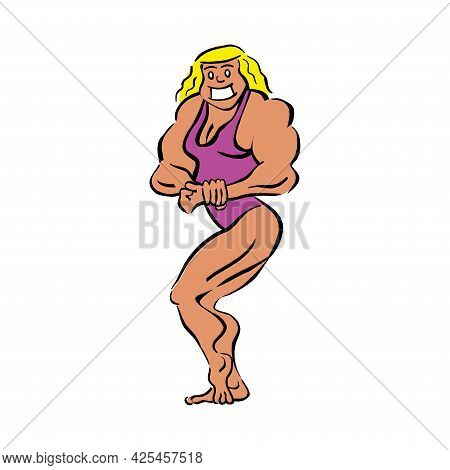 Healthy Woman Flexing Her Muscles On Isolated Background In Eps10