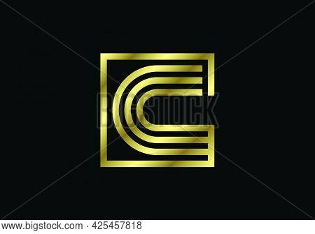 Golden Capital Lines Letter C. Creative Line Letters Design, Graphic Alphabet Symbol For Logo, Poste