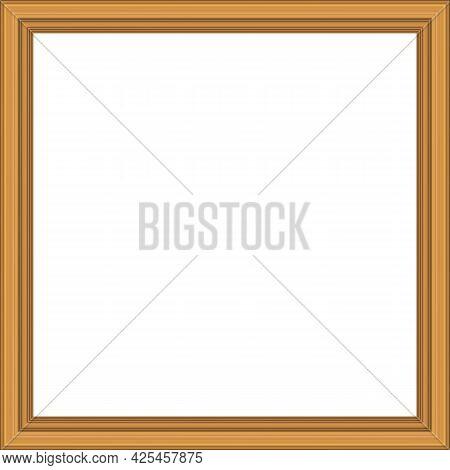 Squared Golden Vintage Wooden Frame For Your Design. Vintage Cover. Copy Space. Vintage Antique Gold