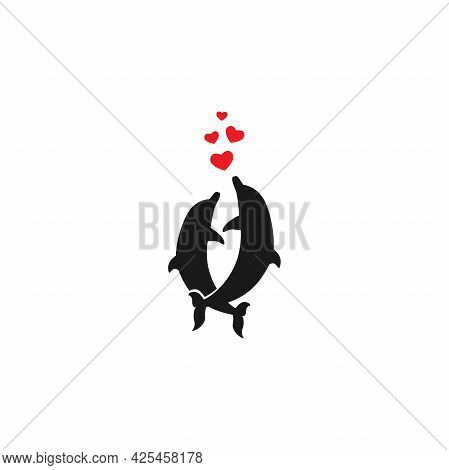 Couple Of Dolphins With Red Hearts Isolated On White Background. Blower Sign. Marine Nature Symbol.