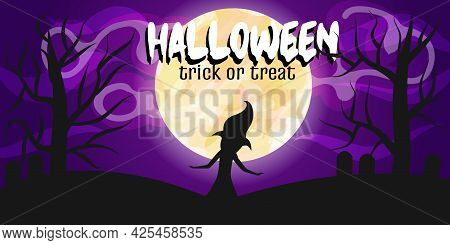 Poster, Banner With Moon, Silhouette Of Witch, Inscription Happy Halloween. Landscape Poster. Vector