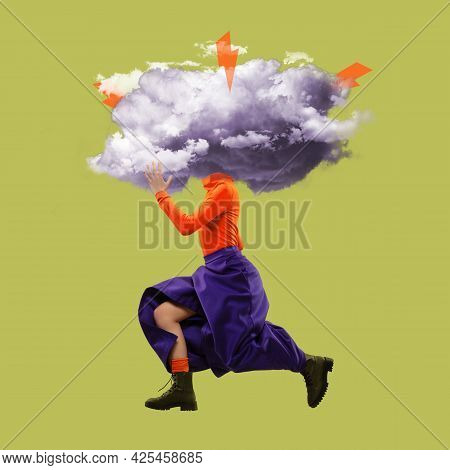 High Fashion Style. Creative Image Of Woman With Thundercloud Instead Of Head. Surrealism.