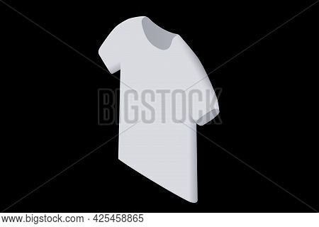 T Shirt Isometric Illustration. White Top Shirt Isolated On White Background. T Shirt Mockup. Vector