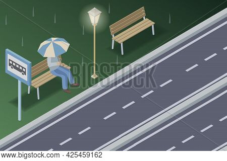 Human Sitting Under Rain With Umbrella And Waiting For A Bus In A Night Time, Vector Illustration. H