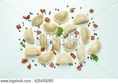 Concept Of Tasty Food With Vareniki Or Pierogi On White Background