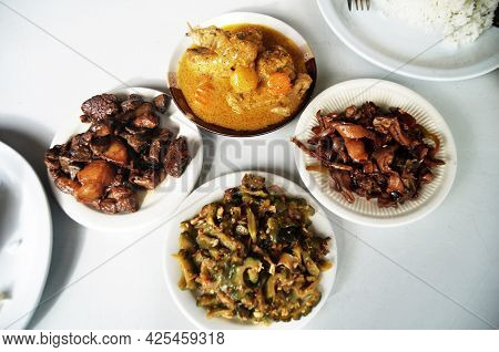 Filipino Local Food Set On Table Serve Lunch Meal To Philippine People And Foreign Travelers Eat Dri