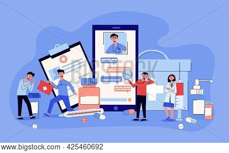Online Medicine Chat With Doctor On Smartphone Screen Advice Medication Thermometer Cartoon Composit
