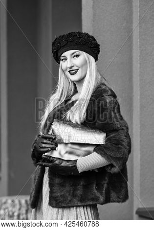 Versatile Textures. Fashion And Beauty. Successful Businesswoman In Street. Autumn Female Outfit. Ap
