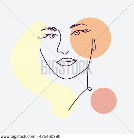 Women Portraits. Female Abstract Hand Drawn Contemporary Portrait, Fashion Girls Silhouettes, Modern