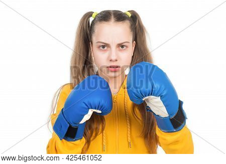 Serious Kid Boxer In Boxing Gloves Ready To Fight And Punch Isolated On White, Boxing