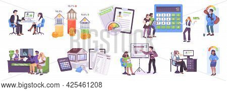 Bank Services Flat Set With Financial Advisor For Investment Account Interest Rates And Loan Calcula