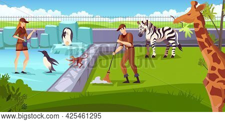 Zoo Animals Keepers Volunteers Feeding Penguin Giraffe Zebra Cleaning Natural Park Location Area Car