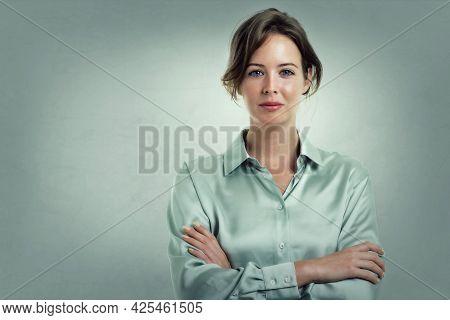 Attractive Businesswoman Studio Portrait