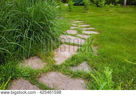 Rough Different Shapes Of Neutral Stone Path Paved In Green Backyard Lawn, Curved Backyard Walkway L