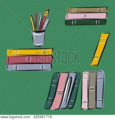 A Set Of Books And Stationery. Library, Study, Education, Reading, Books. Isolated Vector Objects.