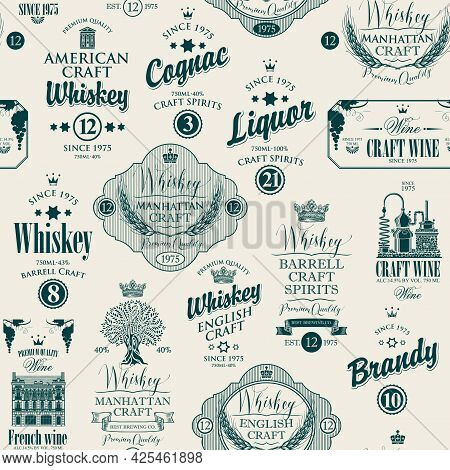 Vector Seamless Pattern With Labels For Various Alcoholic Beverages In Retro Style. Monochrome Repea