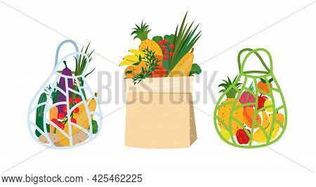 Reusable Grocery Eco Bags With Vegetables And Fruits. Zero Waste And No Plastic Concept. Shopping Re