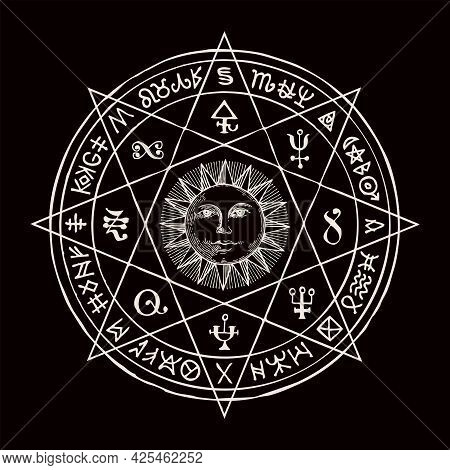 Hand-drawn Illustration With The Sun Inside Octagonal Star And Esoteric Symbols On A Black Backgroun