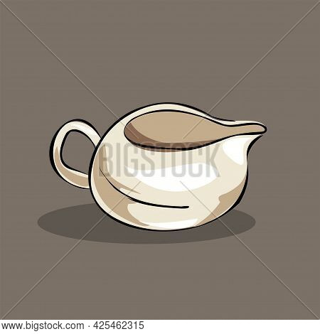 Clay Porcelain Jug, Vessel For Sauce, Milk. Part Of A Cookware Set. Isolated Vector Objects.