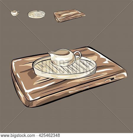 Ceramic Kitchen Utensils. Wooden Cutting Board. Nude Tones. Cooking Food. Sauce-bowl, Jug And Tray,