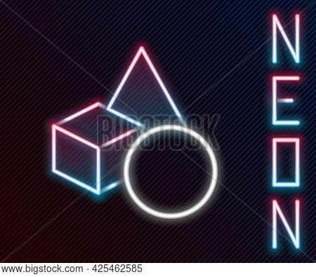 Glowing Neon Line Basic Geometric Shapes Icon Isolated On Black Background. Colorful Outline Concept