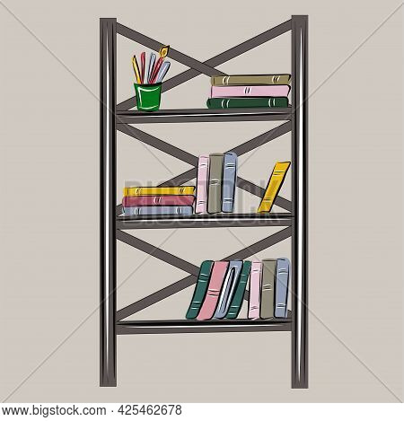 Bookcase, Loft Shelving With Books. Library, School, Reading, Education. All Items Are Separate. Iso
