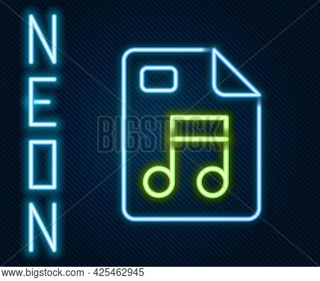 Glowing Neon Line Mp3 File Document. Download Mp3 Button Icon Isolated On Black Background. Mp3 Musi