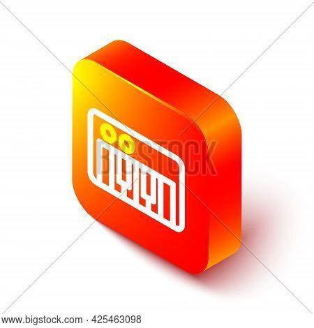 Isometric Line Music Synthesizer Icon Isolated On White Background. Electronic Piano. Orange Square