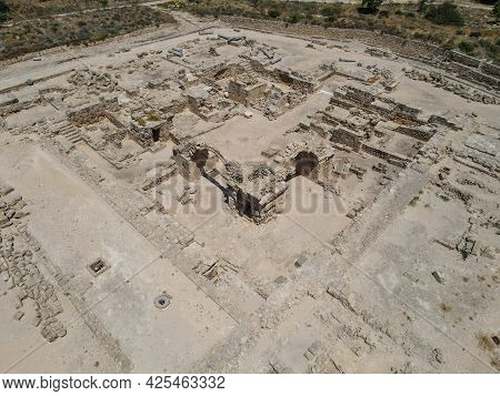 Drone View At The Saranda Kolones Ruins Of Pafos On Cyprus.