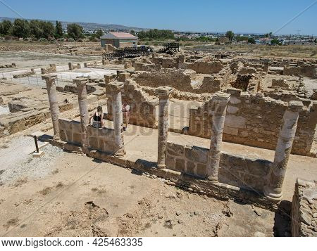 Ancient Temple Columns Of Kato Paphos Archaeological Park In Paphos City, Cyprus