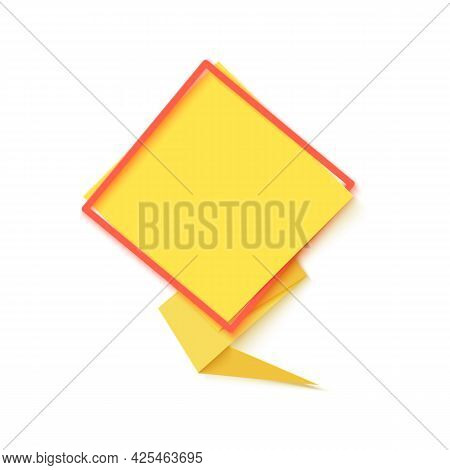 Yellow Rhombus Speech Bubble In Paper Cut Art. Memphis Style Banner With Geometric Shapes. Colorful