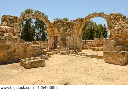 View At The Saranda Kolones Ruins Of Pafos On Cyprus