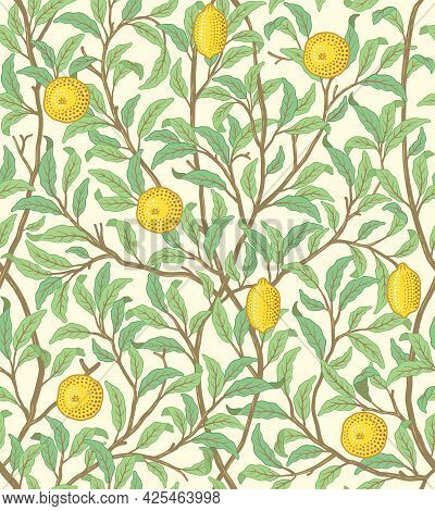 Vintage Tropical Fruit Seamless Pattern On Light Background. Lemons In Foliage. Middle Ages William