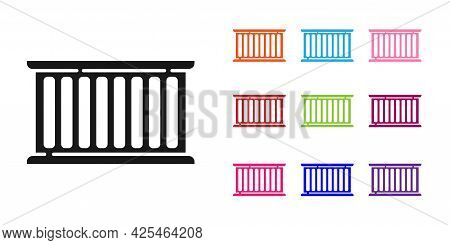 Black Container Icon Isolated On White Background. Crane Lifts A Container With Cargo. Set Icons Col